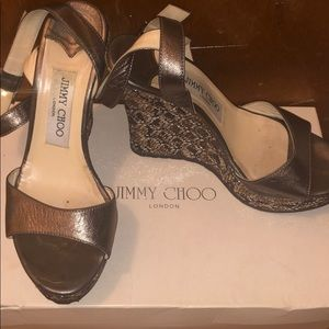 Jimmy Choo Metallic NAPPA Gunmetal wedges